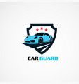 car guard with red star logo icon element and vector image vector image