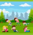 cartoon kids doing yoga in green city park vector image vector image
