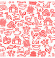 chinese horoscope animals items seamless pattern vector image