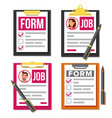 claim form set business document vector image vector image