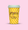 coffee cup in hipster low poly style with text vector image vector image