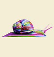 colorful snail on geometric pop art abstract vector image