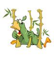 cute green parrot cartoon vector image