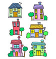 doodle of house set hand draw vector image vector image