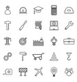 engineering line icons on white background vector image vector image