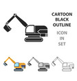 excavator icon in cartoon style isolated on white vector image vector image