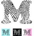 Fingerprint Alphabet Letter M vector image vector image