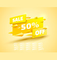 fly banner sale off set collection color yellow vector image vector image