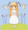 girl communion with dress and flowers plants vector image