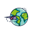 global earth planet with paper airplane design vector image