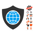 global shield icon with dating bonus vector image vector image