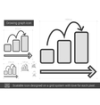 Growing graph line icon vector image vector image