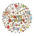happy birthday icons with lettering background vector image vector image