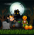 happy halloween witch and vampire in the night vector image vector image