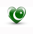 Heart-shaped icon with national flag of Pakistan vector image