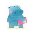 Hippopotamus Kid with Book Study Reading vector image vector image