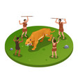 hunting tiger isometric composition vector image vector image