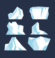 iceberg underwater due to ice set isolated vector image vector image