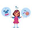 kids choice little girl choosing option sweets vector image vector image