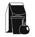 lunch apple pack icon simple style vector image