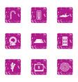 money leisure icons set grunge style vector image