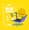 on line shopping with smartphone vector image vector image