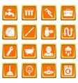 plumber symbols icons set orange square vector image vector image
