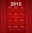 Red creative calendar 2015 year vector image vector image