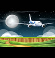 scene with airplane flying in sky at night vector image vector image