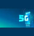 screen phone neon icon 5g network modern blue vector image vector image