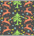 seamless pattern with deers christmas trees vector image