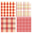 seamless red checked patterns vector image