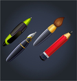 set of drawing and painting tools pen ink pencil vector image vector image