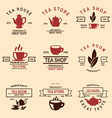 set of tea house labels design element for logo vector image