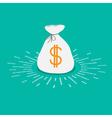 Shining money bag icon Dollar sign Flat design vector image