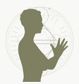 silhouette of a praying woman vector image vector image