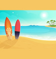 surfboards in different colors sea and sand beach vector image vector image