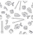 Sushi and rolls seamless pattern Hand drawn sketch vector image vector image