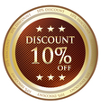 Ten Percent Discount Label vector image