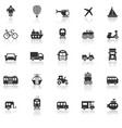 vehicle icons with reflect on white background vector image vector image