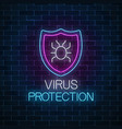 virus protection glowing neon sign on dark brick vector image