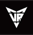 vr logo monogram with back drop shape logo design vector image vector image