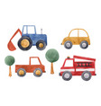 watercolor baby cars set vector image