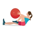 woman fitness position using stability ball vector image vector image