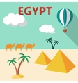Egypt Travel flat design with palm tree pyramids vector image