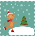 Greeting card with happy monkey vector image
