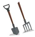 Agricultural shovel and pitchfork vector image