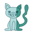 aquamarine hand drawn silhouette of cat sitting vector image