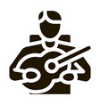 bard playing on guitar icon glyph