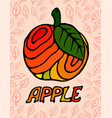 beautiful red apple with leaves vector image vector image